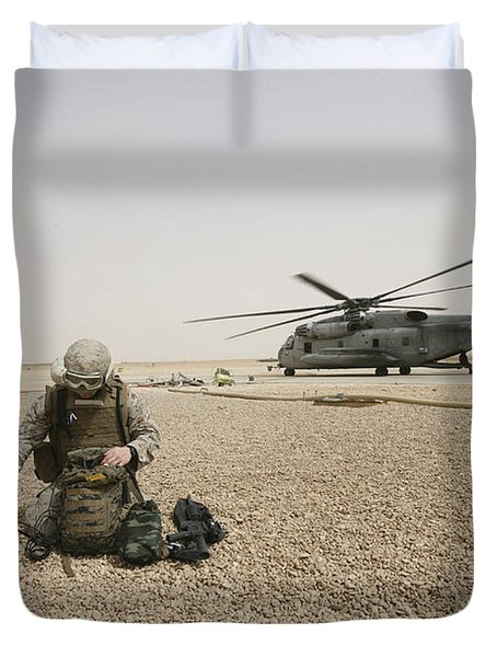 A Field Radio Operator Sets Duvet Cover by Stocktrek Images