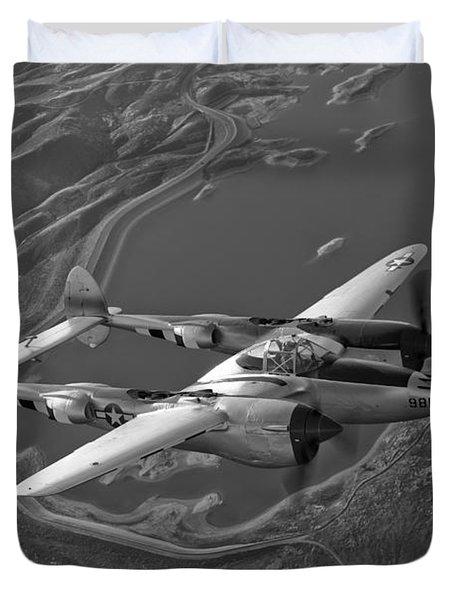 A Lockheed P-38 Lightning Fighter Duvet Cover by Scott Germain