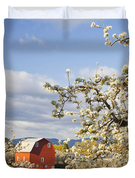 Apple Blossom Trees And A Red Barn In Duvet Cover by Craig Tuttle