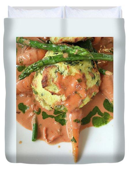 Asparagus Dish Duvet Cover by Tom Gowanlock