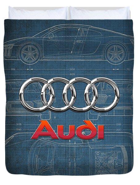 Audi 3 D Badge Over 2016 Audi R 8 Blueprint Duvet Cover by Serge Averbukh