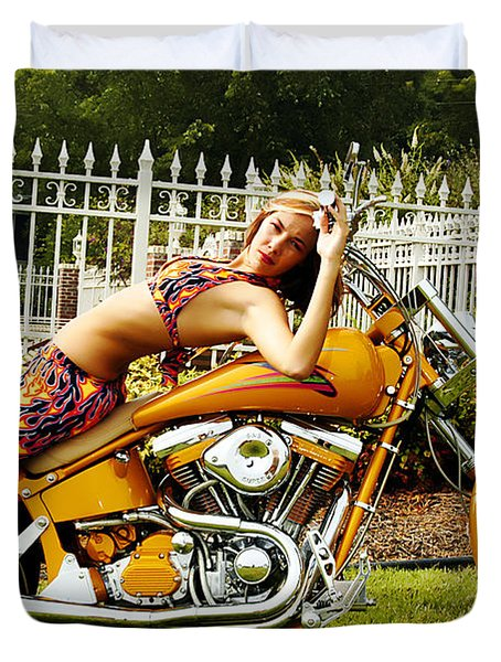 Bikes And Babes Duvet Cover by Clayton Bruster