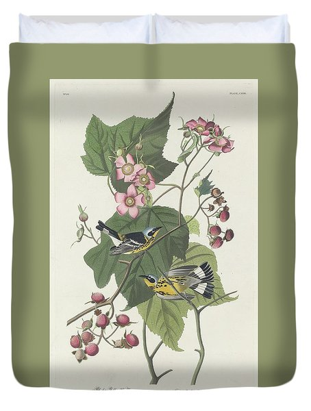 Black And Yellow Warbler Duvet Cover by John James Audubon
