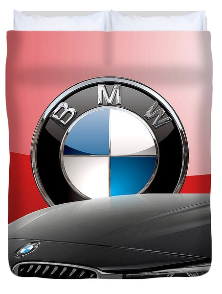 Black B M W - Front Grill Ornament And 3 D Badge On Red Duvet Cover by Serge Averbukh