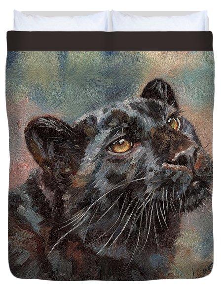 Black Leopard Duvet Cover by David Stribbling
