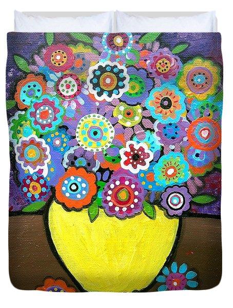 Blooms 6 Duvet Cover by Pristine Cartera Turkus
