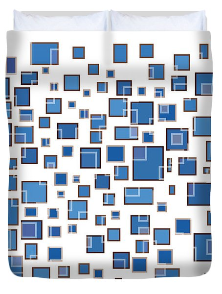 Blue Abstract Rectangles Duvet Cover by Frank Tschakert