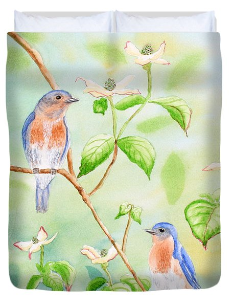 Bluebirds In Dogwood Tree Duvet Cover by Kathryn Duncan