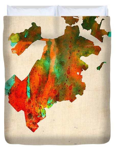 Boston Watercolor Map  Duvet Cover by Naxart Studio