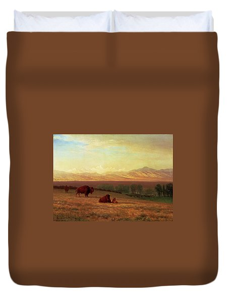 Buffalo On The Plains Duvet Cover by MotionAge Designs