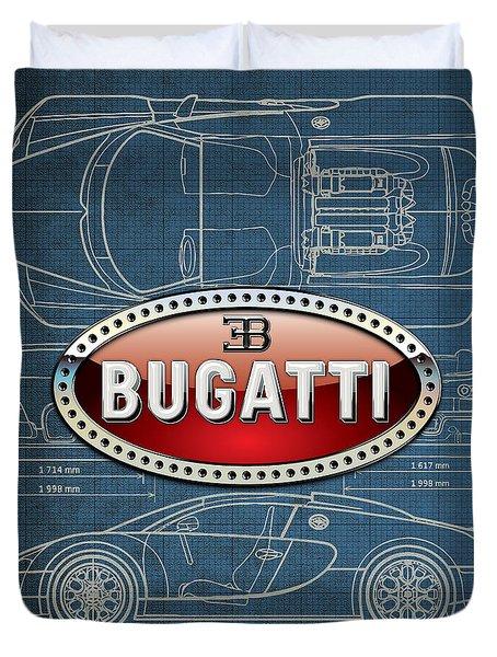 Bugatti 3 D Badge Over Bugatti Veyron Grand Sport Blueprint  Duvet Cover by Serge Averbukh