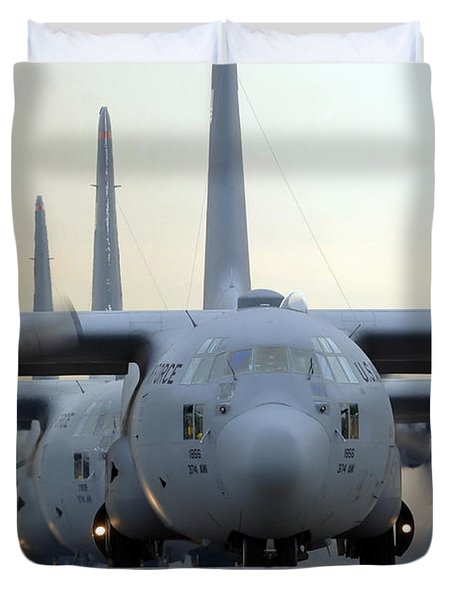 C-130 Hercules Aircraft Taxi Duvet Cover by Stocktrek Images
