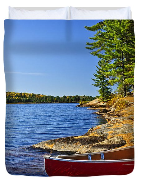 Canoe On Shore Duvet Cover by Elena Elisseeva