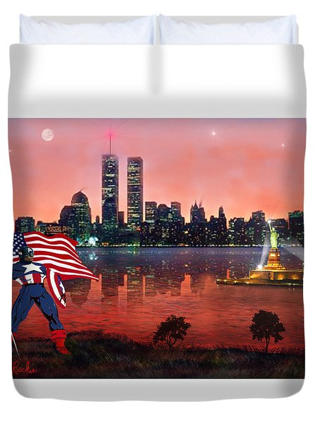 Captain America Duvet Cover by Michael Rucker