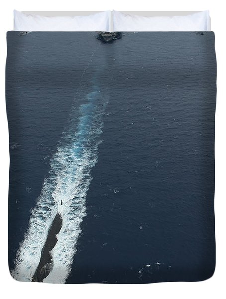 Carrier Strike Group Formation Of Ships Duvet Cover by Stocktrek Images