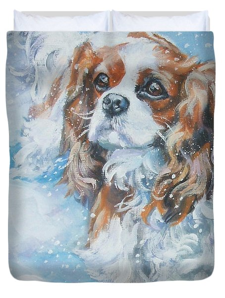 Cavalier King Charles Spaniel Blenheim In Snow Duvet Cover by Lee Ann Shepard