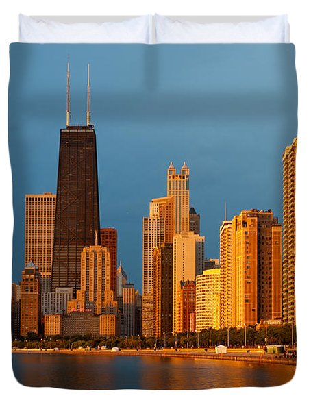 Chicago Skyline Duvet Cover by Sebastian Musial