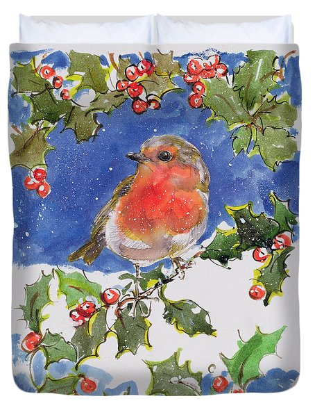 Christmas Robin Duvet Cover by Diane Matthes