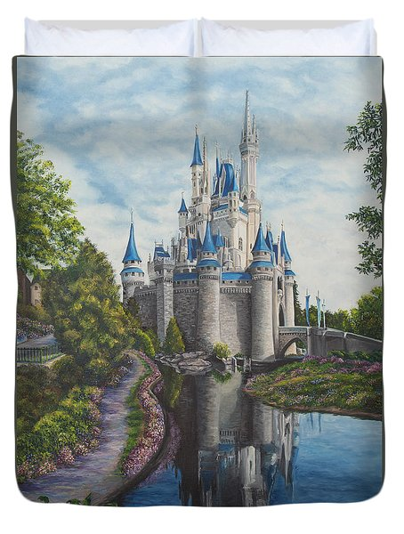 Cinderella Castle  Duvet Cover by Charlotte Blanchard