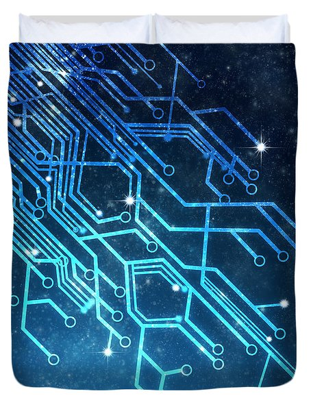 Circuit Board Technology Duvet Cover by Setsiri Silapasuwanchai