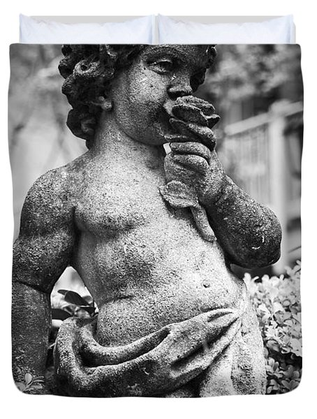 Courtyard Statue of a Cherub French Quarter New Orleans Black and White Duvet Cover by Shawn O'Brien