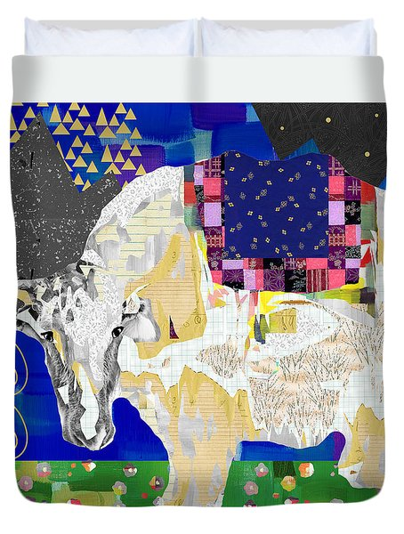Stay Curious Cow Collage  Duvet Cover by Claudia Schoen