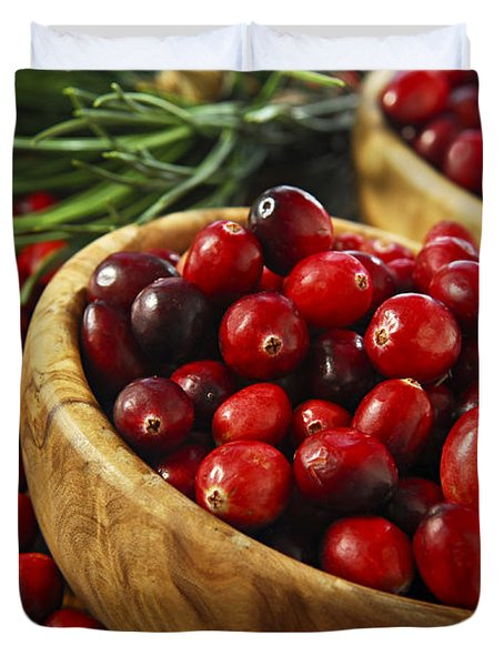 Cranberries in bowls Duvet Cover by Elena Elisseeva