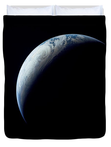 Crescent Earth Taken From The Apollo 4 Duvet Cover by Stocktrek Images