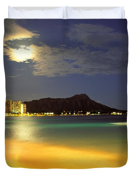 Diamond Head And Waikiki Duvet Cover by William Waterfall - Printscapes