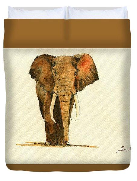 Elephant Watercolor Duvet Cover by Juan  Bosco