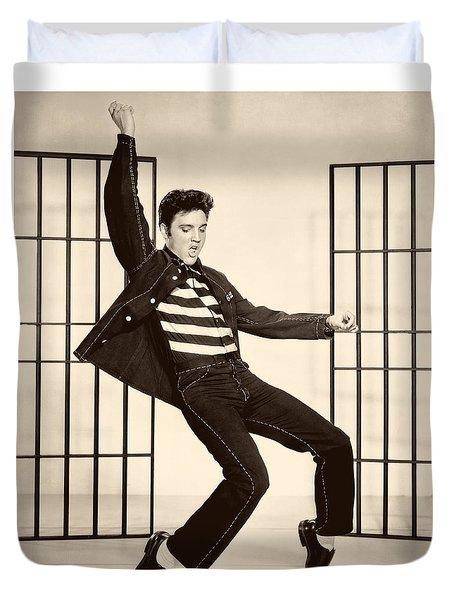 Elvis Presley In Jailhouse Rock 1957 Duvet Cover by Mountain Dreams