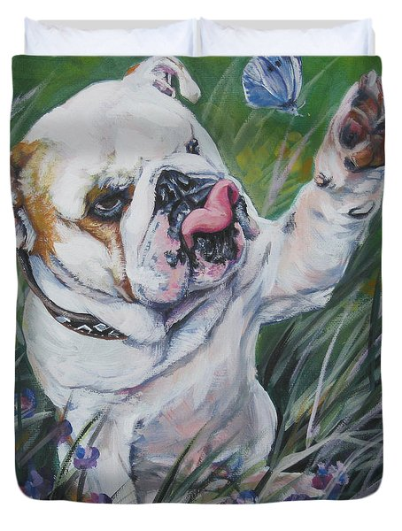 English Bulldog Duvet Cover by Lee Ann Shepard