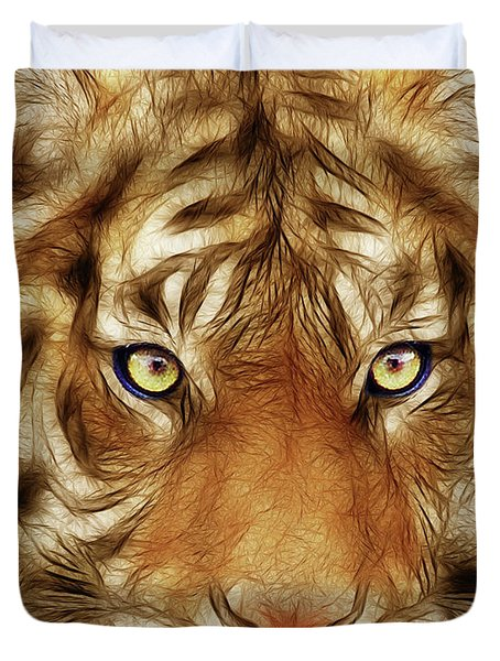 Eye Of The Tiger Duvet Cover by Wingsdomain Art and Photography