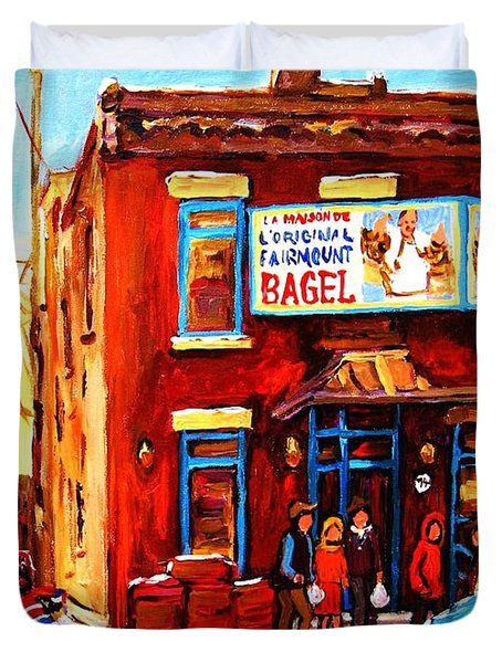 Fairmount Bagel In Winter Duvet Cover by Carole Spandau