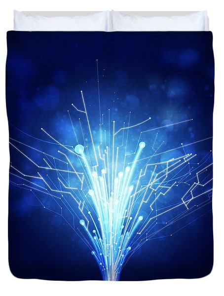Fiber Optics And Circuit Board Duvet Cover by Setsiri Silapasuwanchai