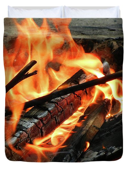 Fire at the Beach III Duvet Cover by Mariola Bitner