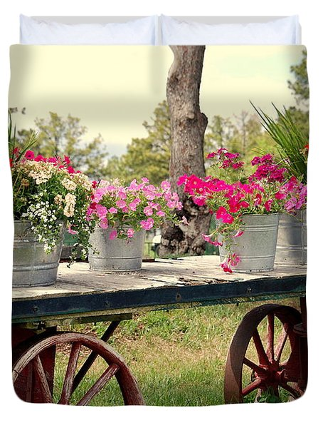 Flower Wagon Duvet Cover by Susanne Van Hulst