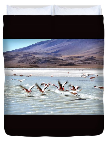 Flying Flamingos Duvet Cover by Sandy Taylor