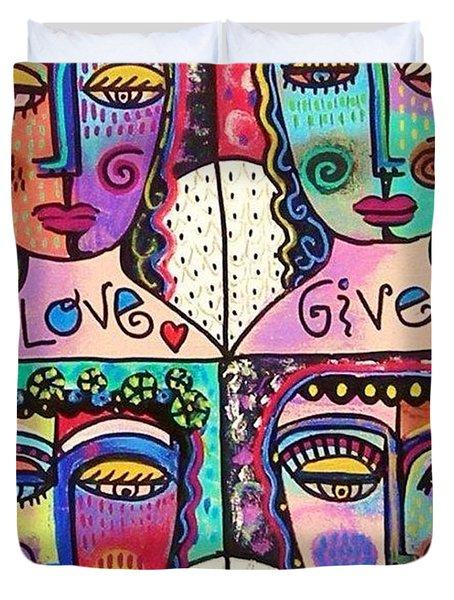 Four Gemstone Angels  Duvet Cover by Sandra Silberzweig