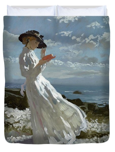 Grace Reading At Howth Bay Duvet Cover by Sir William Orpen