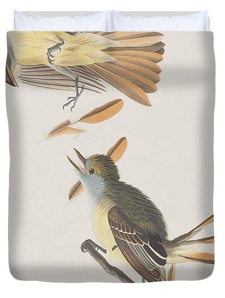 Great Crested Flycatcher Duvet Cover by John James Audubon