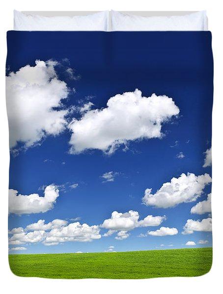 Green rolling hills under blue sky Duvet Cover by Elena Elisseeva