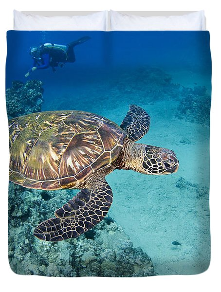 green sea turtles  Duvet Cover by Dave Fleetham - Printscapes