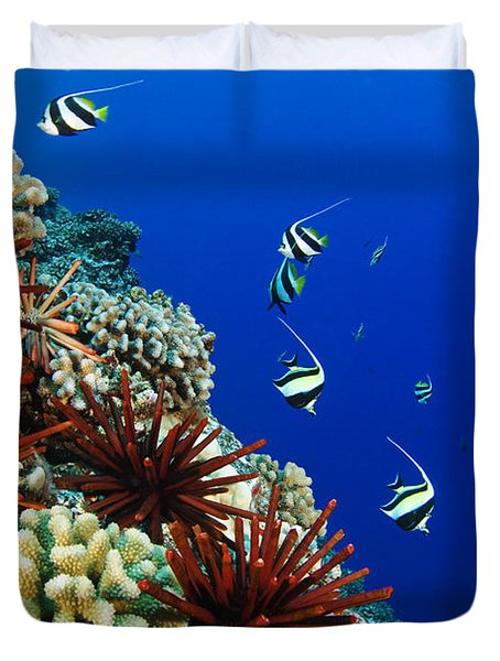 Hawaiian Reef Scene Duvet Cover by Dave Fleetham - Printscapes