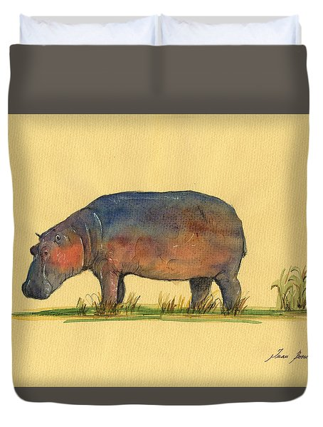 Hippo Watercolor Painting  Duvet Cover by Juan  Bosco