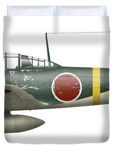 Illustration Of A Mitsubishi A6m2 Zero Duvet Cover by Inkworm