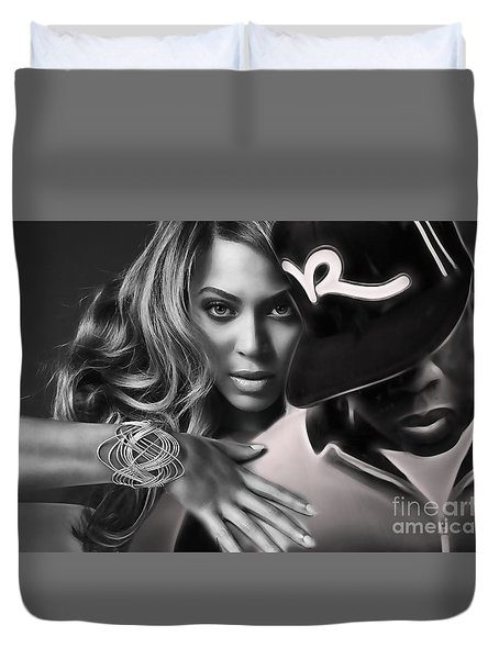 Jay Z Beyonce Collection Duvet Cover by Marvin Blaine