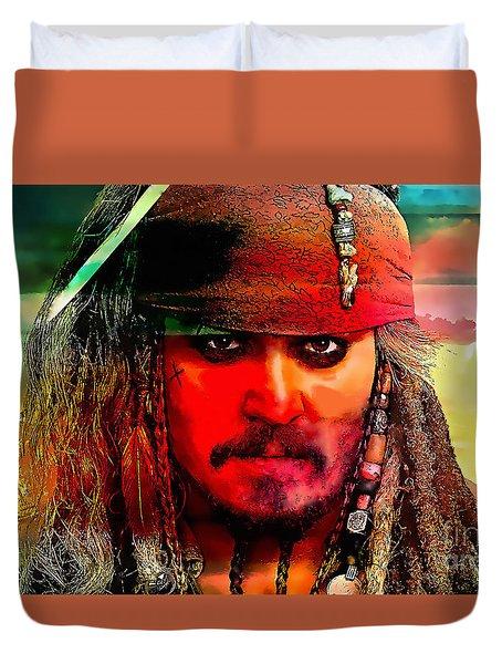 Johnny Depp Painting Duvet Cover by Marvin Blaine