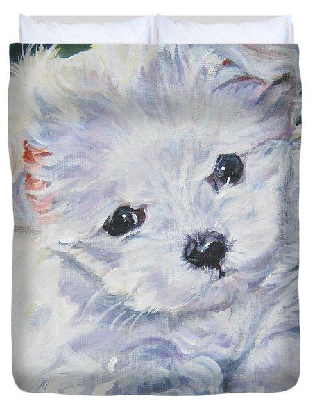 Maltese Duvet Cover by Lee Ann Shepard