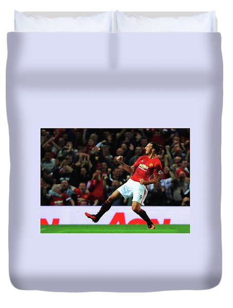 Manchester United's Zlatan Ibrahimovic Celebrates Duvet Cover by Don Kuing